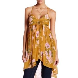Free People Tops - Free People Yellow Floral Mirage Tunic